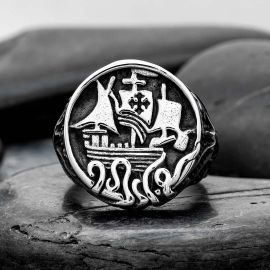 Sailing Ship Storm Sailor Stainless Steel Ring