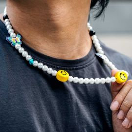 Smile Face Butterfly Pearl Necklace