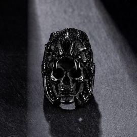 Indian Jaguar Skull Stainless Steel Ring in Black