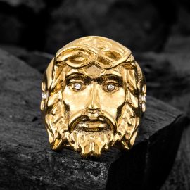 Jesus Stainless Steel Ring in Gold