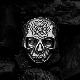 Mandala Flower Skull Stainless Steel Ring