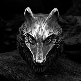 Vintage Wolf Stainless Steel Ring