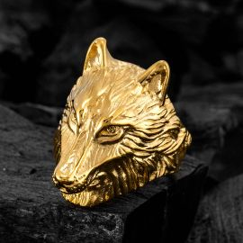 Vintage Wolf Stainless Steel Ring in Gold