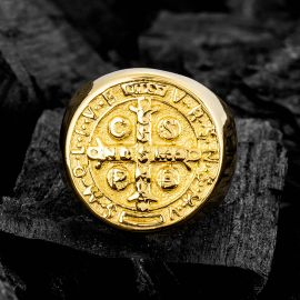 ST. Benedict Stainless Steel Ring in Gold