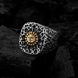 Pattern Sun Stainless Steel Ring
