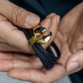 Black Braided Leather Gold Anchor Bracelet