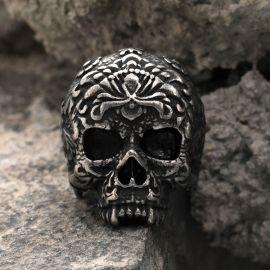 Vintage Flower Skull  Stainless Steel Ring