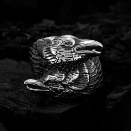 Odin two Ravens Stainless Steel Ring