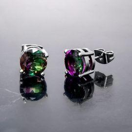 Round Multicolor Stone Stud Earrings