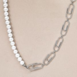 Stainless Steel Paperclip Pearl Necklace