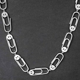 Stainless Steel Paperclip Smile Face Necklace