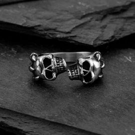 Double Skull Stainless Steel Ring