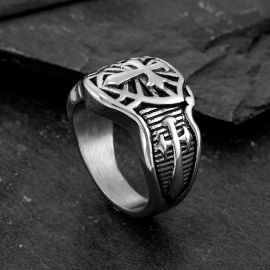 Cross Shield Stainless Steel Ring