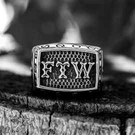 """""""FTW"""" Letter Stainless Steel Ring"""