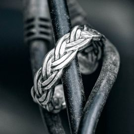 Vintage Braided Open Rope Stainless Steel  Ring