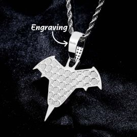 Iced Bat Wings and Mouth Pendant