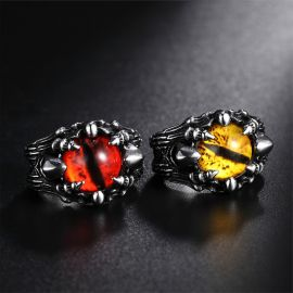 Yellow Eye of Dragon Stainless Steel Ring