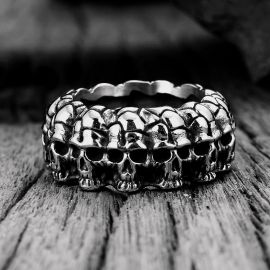 Skull Surrounded Stainless Steel Ring