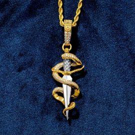 Iced Dagger and snake Pendant