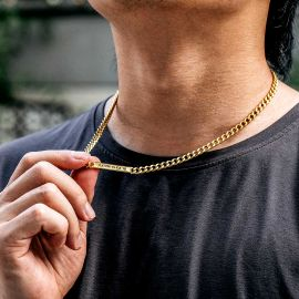5mm Personalized Engraved Cuban ID Necklace in Gold