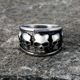 Five Skulls Stainless Steel Ring