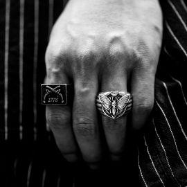 Skull Moth Butterfly Stainless Steel Ring