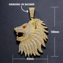 Iced Large Roaring Lion Head Pendant with Iced Cuban Chain in Gold
