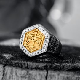 Vegvisir World Tree Stainless Steel Ring in Gold