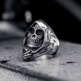 Grim Reaper Skull Stainless Steel Ring