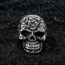 Punk Flower Skull Stainless Steel Ring