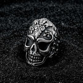 Tribal Floral Skull Stainless Steel Ring