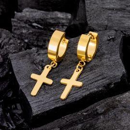 Gold Stainless Steel Cross Dangle Earrings