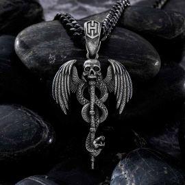 Stainless Steel Skull Snake Wings Pendant