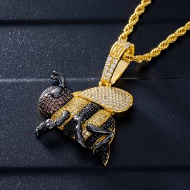 Iced Honey Bee Pendant in Gold