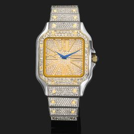 Iced Square Two Tone Roman Numerals Men's Watch