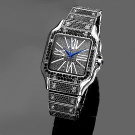 Iced Square Roman Numerals Men's Watch in Black Gold