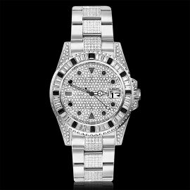 Iced Black Stones Rotatable Bezel Watch in White Gold