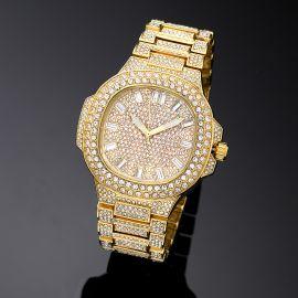 Iced Porthole Shape Luminous Watch in Gold