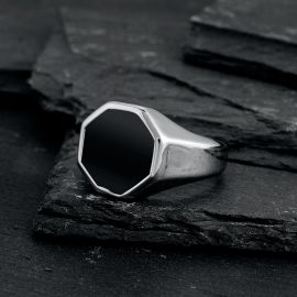 Octagon Black Signet Stainless Steel Ring