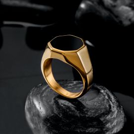 Octagon Black Signet Stainless Steel Ring in Gold