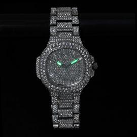 Iced Porthole Shape Luminous Watch in White Gold