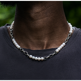 Freshwater Pearl With Stainless Steel Chain Necklace