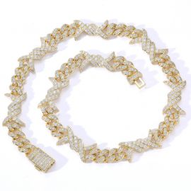 11mm Iced Barb Wire Cuban Chain in Gold