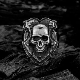 Vintage Shield Skull Stainless Steel Ring