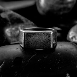 Retro Rectangle Stainless Steel Ring