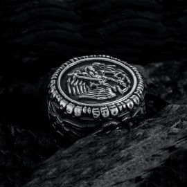 Retro Archangel Saint Michael Stainless Steel Ring