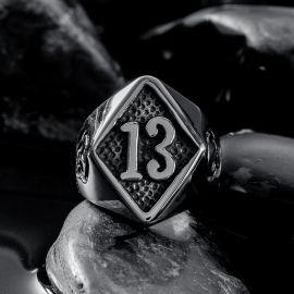 Rhombic 13 Skull Stainless Steel Ring