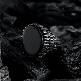 Black Gem Round Signet Stainless Steel Ring