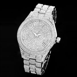 Fully Iced Round Bezel Men's Watch in White Gold