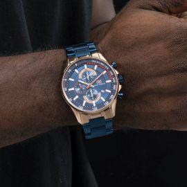46mm Sports Calendar Luminous Metal Strap Men's Watch